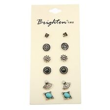 6 Pairs Brighton Earring Sets Super Value Round Square Stud Earrings