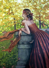 Oil painting young girl wearing dress in spring landscape Hand painted canvas