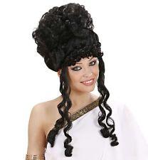 Señoras Negro Rizado Peluca Olímpico Diosa Romana Griega Atenea Afrodita Disfraz