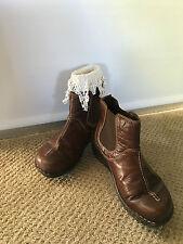 JOSEPH SEIBEL Dark Brown Leather Contrast Stitch Slip On Mocassins Boot 38 M