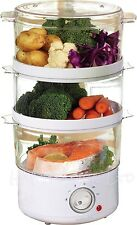 3 TIER 7.2 LITRE CAPACITY 400W ELECTRIC WHITE  FOOD VEGETABLE STEAMER