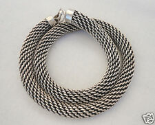 "Vintage French Sterling Silver Mesh Chain Mail Necklace 19"" 106.9 grams"
