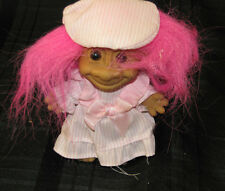 """Russ 5"""" Troll Doll- Pink Striped Dress and Cap, BRIGHT HOT Pink Hair"""