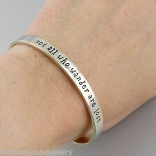 Not All Who Wander Are Lost Cuff Bracelet - Alpaca Silver Brass - Wanderlust NEW