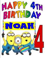 MINIONS HAPPY BIRTHDAY T-SHIRT Personalized Any Name/Age Toddler to Adult