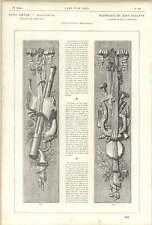 1882 Musical Ornamentation Of Wooden Panel Deeply Carved Oak Ribbons Flowers