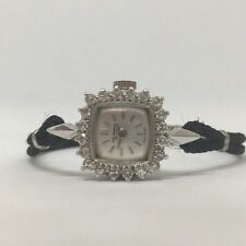 Vintage 14K White Gold JJ JULES JURGENSEN Swiss DIAMOND Ladies Wristwatch WATCH