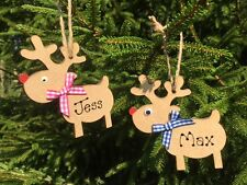 Personalised Rudolph Reindeer - 9cms Hand Crafted Wooden Christmas Tree Bauble