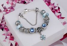 Open Pandora 's Box BLUE SNOWFLAKE WINTER WONDERLAND European Charm Bracelet