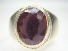 3.75CT VINTAGE NATURAL RUBY STERLING SILVER MENS RING 10/ T1/2