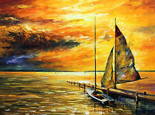 """Sailing Away — Oil Painting On Canvas By Leonid Afremov.  Size:40""""x30"""" Seascape"""