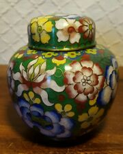 Vintage Chinese Clonisonne Ginger Jar With Inlaid Enamel Floral Decoration