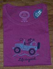 *RARE* Life Is Good MEDIUM Womens OFFROAD HELLO Jeep Short Sleeve Crusher PINK M