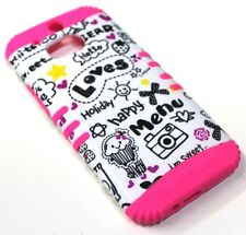 for HTC ONE M8 Cute Drawings Pink Hard & Soft Rubber Hybrid Koolkase Armor Case