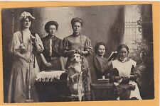 Studio Real Photo Postcard RPPC - Women & Dog Sweeping Ironing Reading Sewing