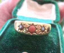 Victorian 18ct Gold Ring hallmarked Birmingham 1893 -  Coral and Pearl  - size S