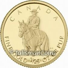Canada 2010 RCMP Royal Canadian Mountie 50 Cents 1/25 Ounce .9999 Gold Proof GML