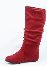 NEW Women's Comfort  Faux Suede Round Toe Flat Mid-Calf Boots Shoes Size 5 - 10