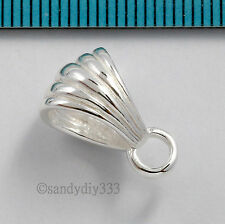 1x BRIGHT STERLING SILVER SHELL BAIL SLIDE PENDANT CONNECTOR BEAD N098