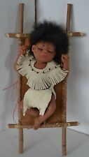 Vintage Handmade Papose Baby Indian Boy Clay Doll Ooak