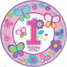 "18 Sweet Pink Butterfly Girl's 1st Birthday Party Disposable 10.5"" Paper Plates"