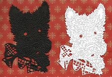 NEW TATTERED LACE SCOTTY DOG / WESTIE DIE CUTS -  B/W TOPPER-/CHRISTMAS PET