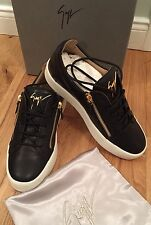 Giuseppe Zanotti Design Men's Frankie Black Nappa Leather Trainers Uk 7 Eu41 New