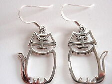 Happy Cut Out Cat Earrings 925 Sterling Silver Dangle Corona Sun Jewelry