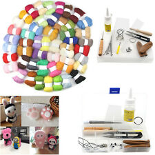50 Colors Wool Fibre Needle Felting+1 Set Felting Needles Starter Kits Mat Tools