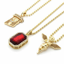 Men's 14k Gold Plated Gold Stardust Angels & Jesus w/ Iced Red Cz 6pc Bundle