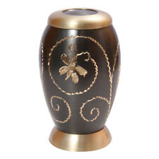 Golden Creeper Engraved Little Keepsake Urn for Human Ashes, Cremation Brass Urn