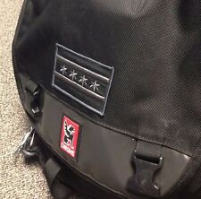 Chicago Flag Patch SUBDUED BLACK Grey Iron-On Embroidered - Chrome Messenger Bag