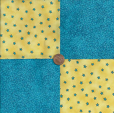 Teal Blue Stars 4 inch Fabric Quilt Square Charms Blocks MS2