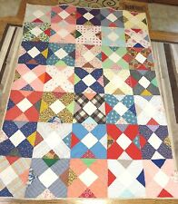 "USA Handmade Twin/Full Quilt-Patchwork X's Multi-Color  61"" x 85"""