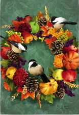 NEW LARGE EVERGREEN FLAG FALL FLORAL WREATH W/ CHICKADEES & HARVEST  29 X 43