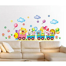 Wall Stickers Cartoon Cute Animal Train Balloon Kid Bedroom Home Chic Design