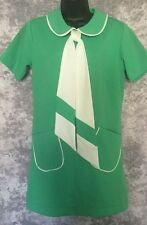 S VTG 60s 70s GREEN WHITE COLLAR MOD MICRO MINI DRESS