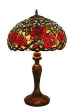 Tiffany Style Stained Glass Amora Lighting AM1535TL16 Red Roses Table Lamp 24""