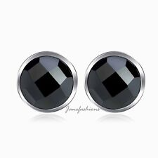 6MM ROUND CUT BLACK AGATE .925 STERLING SILVER STUD EARRINGS STUDS GIFT SS1804