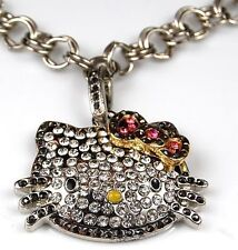 Hello Kitty Bracelet Pink Bow Swarovski Crystal Black Fashion Jewelry