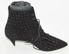 AUTH YSL Saint Laurent Black Suede Crystal Low Heel Boot 38