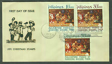 Philippine Stamps 1972 Christmas (Parol Making) complete set on First Day Cover
