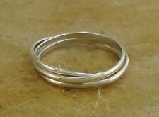 .925 STERLING SILVER 3 BAND RUSSIAN ROLLING RING size 8  style# r2000