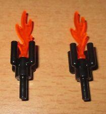 Lego Piraten Zubehör 2 Fackeln in schwarz - Trans. Orange