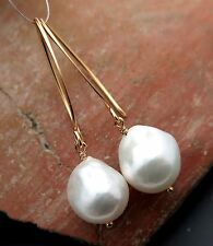 BEAUTIFUL AA SOUTH SEA 11x12.7mm WHITE CULTURED PEARL 24K VERMEIL EARRINGS