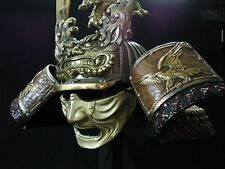 Japanese Samurai Helmet -Dragon and Hawk Deco Kabuto with a mask-