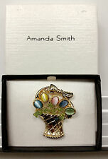 Amanda Smith Easter Basket Pastel Spring Flower Bouquet Pin Brooch