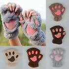 Women Cute Cat Claw Paw Plush Mittens Short Fingerless Gloves Half Finger Winter