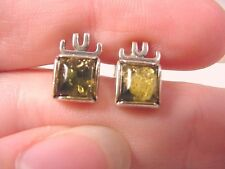 (pe28-d) AMBER GREEN square .925 Sterling SILVER stud EARRINGS Poland Jewelry