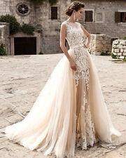 New White/Ivory Wedding Dress Lace Bridal Gown Applique Custom 6 8 10 12 14 16++
